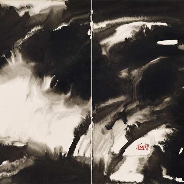 無題,1970-73年,水墨 Kyro卡紙,雙聯作