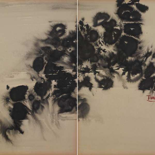 無題,1970年代,水墨 卡紙,雙聯作