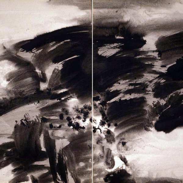 無題,1970年,水墨 卡紙,雙聯作