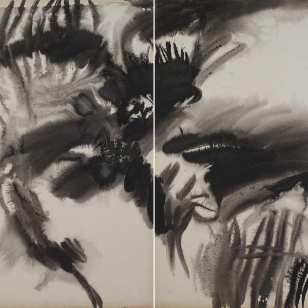 無題,1974年,水墨 卡紙,雙聯作