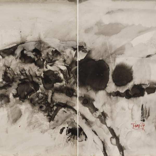 無題,1973年,水墨 Kyro卡紙,雙聯作
