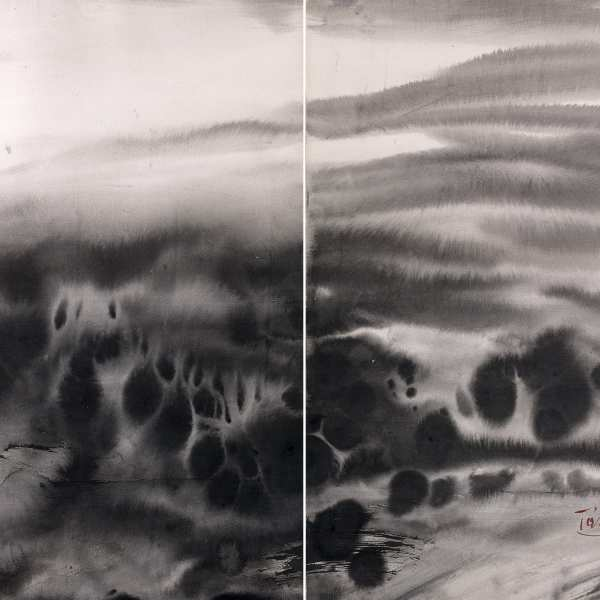 無題,1980年代,水墨 卡紙,雙聯作