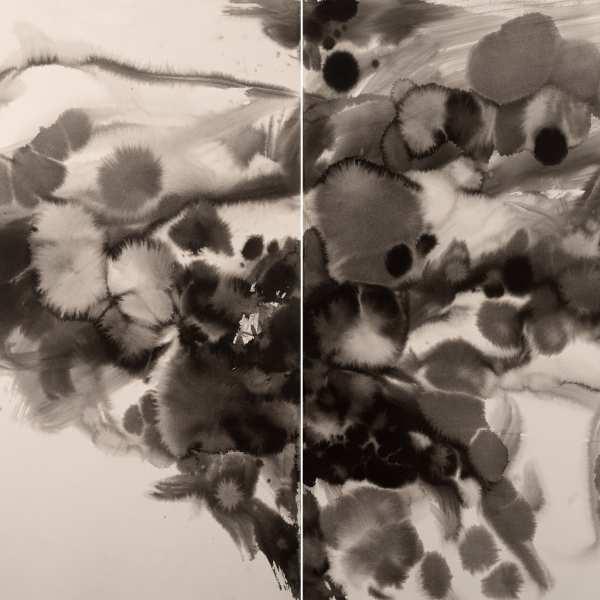 無題,約1985年,水墨 Arches紙本,雙聯作