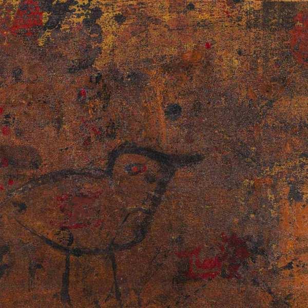 無題(鳥),1965年,混合媒體 報紙