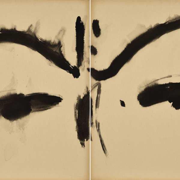 無題,約1968年,水墨 Kyro 卡紙,雙聯作